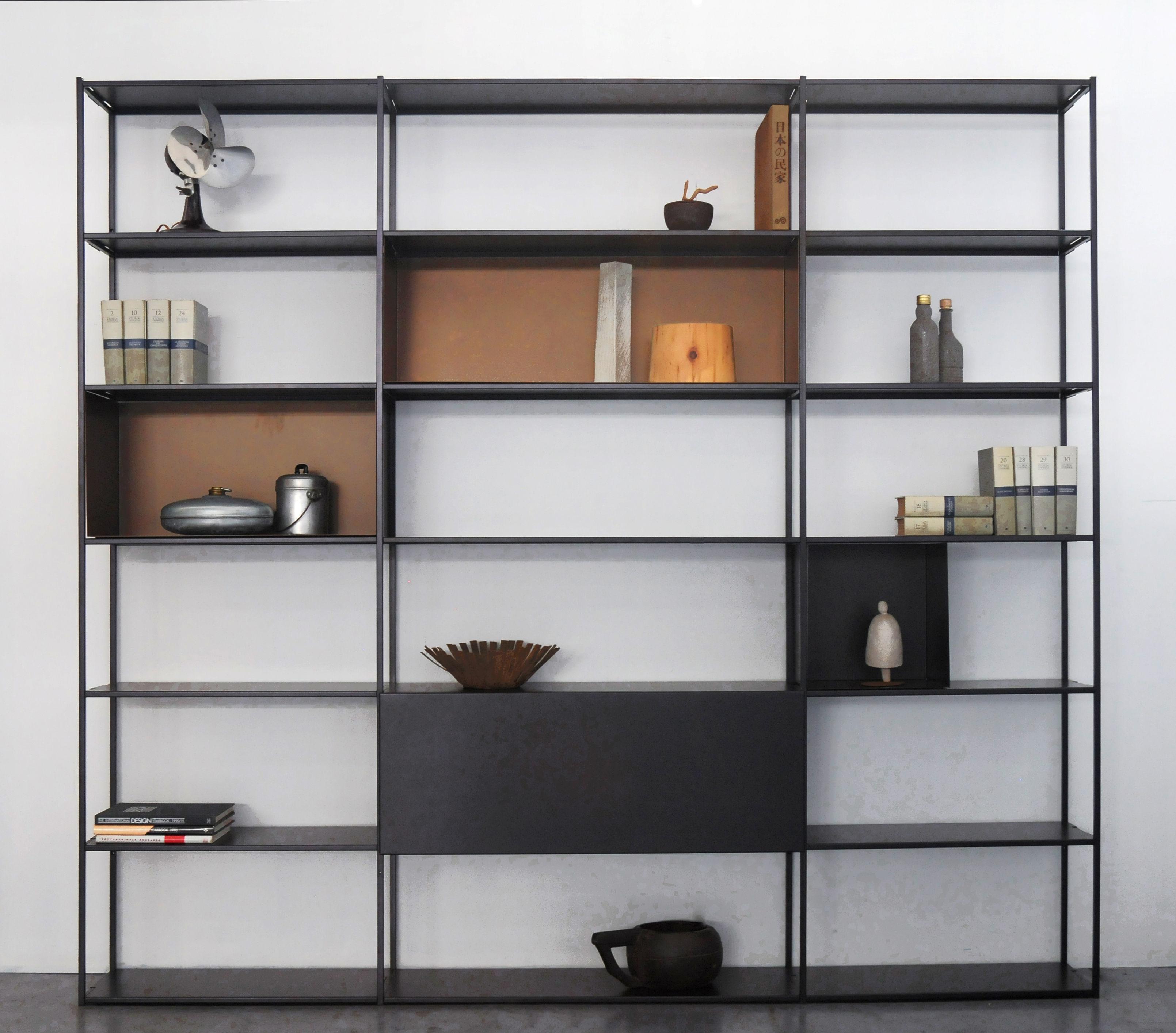 Arredamento - Scaffali e librerie - Libreria Easy Irony - / Con contenitori - L 250 x H 226 cm di Zeus - Nero ramato / Bronzo - Acciaio verniciato epossidico