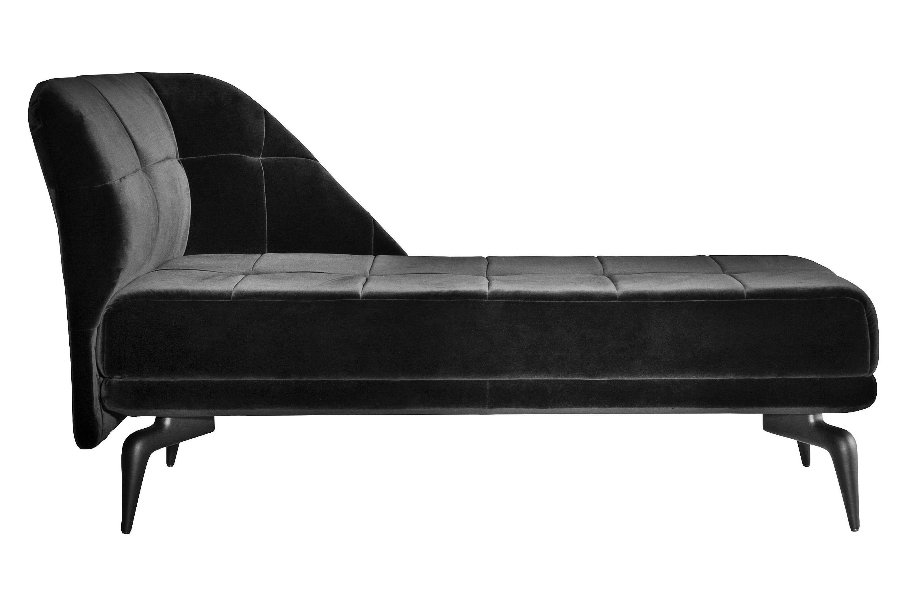 Arredamento - Divani moderni - Meridiana Leeon - bracciolo destra di Driade - Velluto nero - Alluminio laccato, Velluto