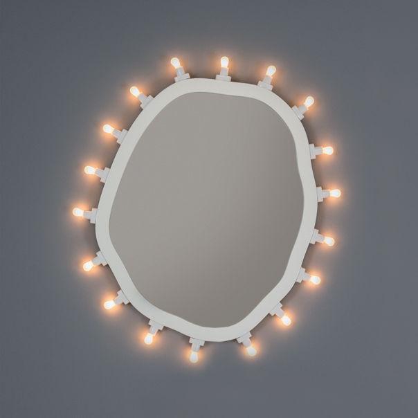 Luminaire - Appliques - Miroir lumineux Luminaire Medium / 55 x 67 cm - Ampoules incluses - Seletti - Medium / Blanc - MDF peint, Verre