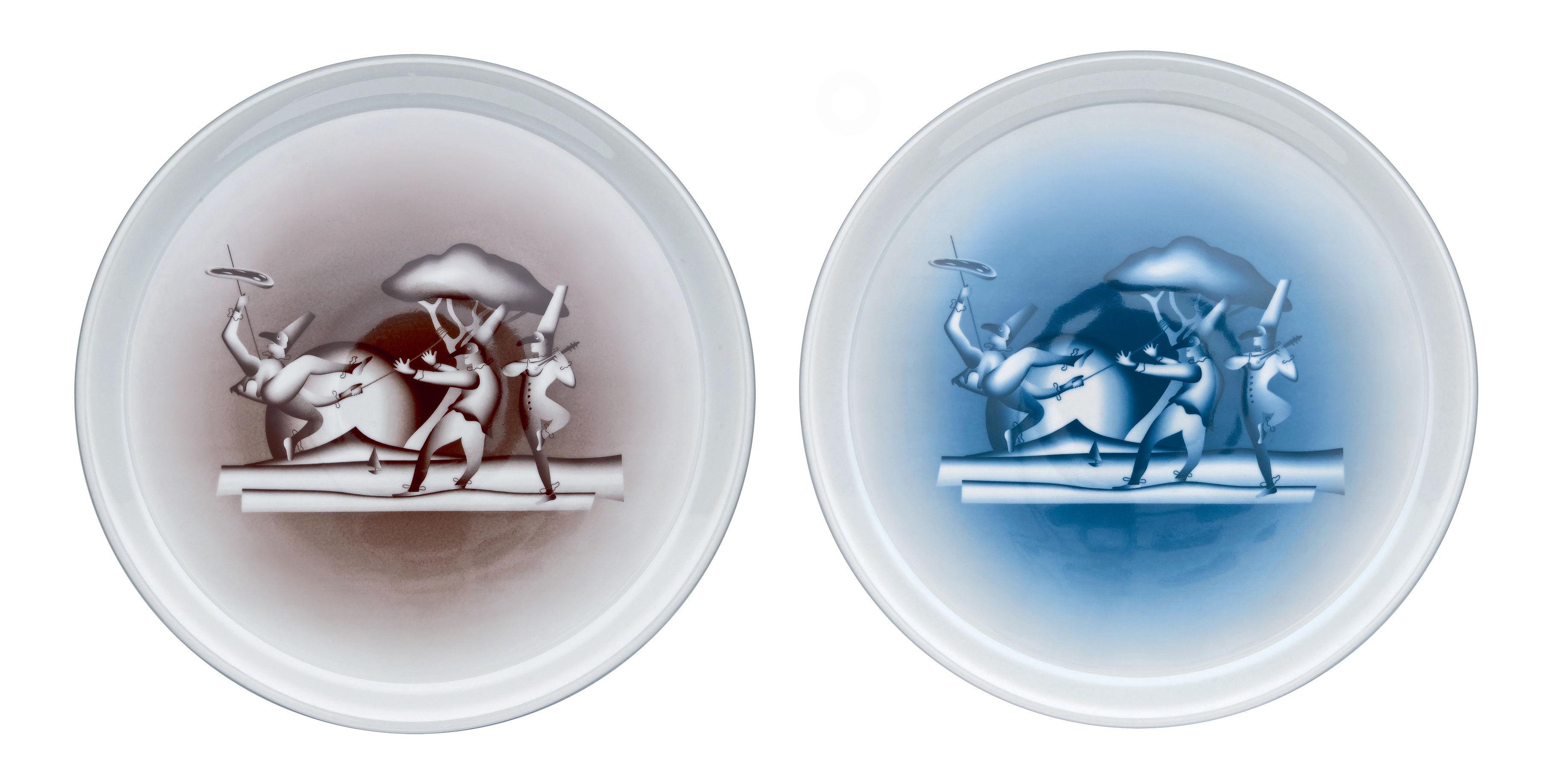 Tischkultur - Teller - #VivaNapoli Pizzatelller / 2er-Set - A di Alessi - Braun & blau - Porzellan