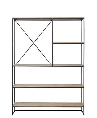 Möbel - Regale und Bücherregale - Planner Large Regal / MC520 - L 121 x H 165 cm - Fritz Hansen - Eiche / Schwarz - Beschichteter Stahl, massive Eiche