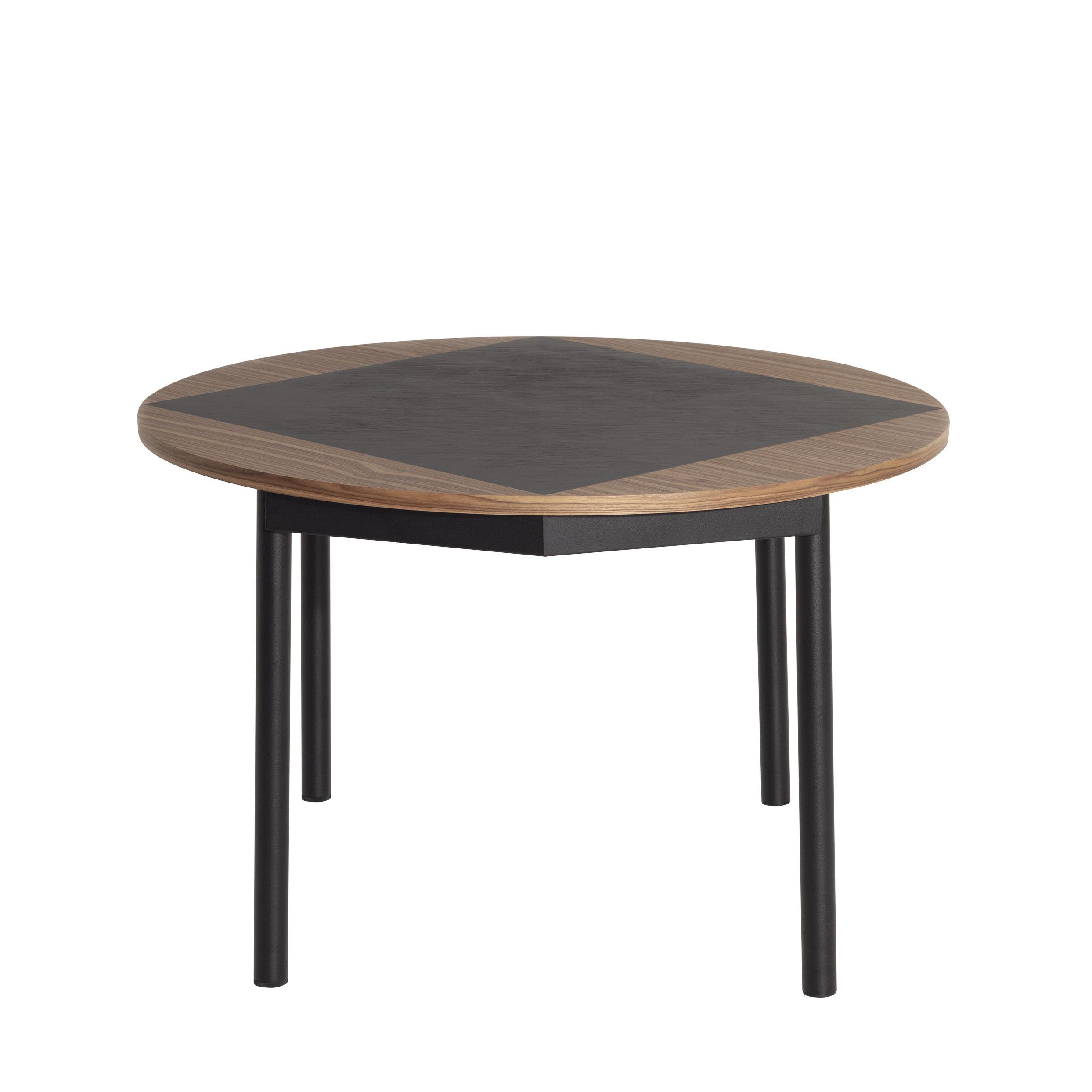 Furniture - Dining Tables - Tavla Round table - / Ø 120 cm - Walnut inlay by Petite Friture - Walnut & black - Lacquered steel, Walnut