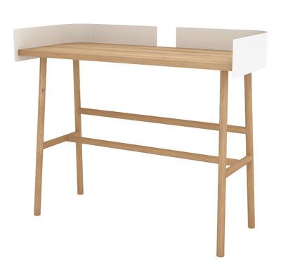 Arredamento - Mobili da ufficio - Scrivania B-Desk / 100 x 45 cm - Universo Positivo - Rovere naturale / Bianco - metallo laccato, Rovere massello