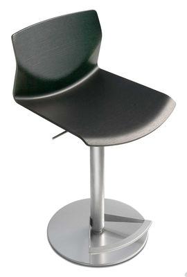 Tabouret haut réglable Kai / Assise bois pivotante - Lapalma noir en métal/bois