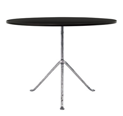 Outdoor - Tavoli  - Tavolo rotondo Officina Outdoor - / Ø 120 cm - Piano in acciaio di Magis - Acciaio nero / Gambe galvanizzate - Acciaio verniciato, Ferro battuto