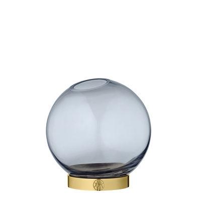 Vase Globe Small / Ø 10 cm - Verre & laiton - AYTM bleu/or en métal/verre