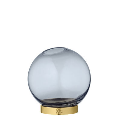 Image of Vaso Globe Small - / Ø 10  cm - Vetro & ottone di AYTM - Blu Navy,Ottone - Metallo