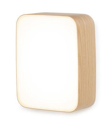 Applique Cube Small / Plafonnier LED - 22 x 16 cm - Tunto blanc,chêne en bois