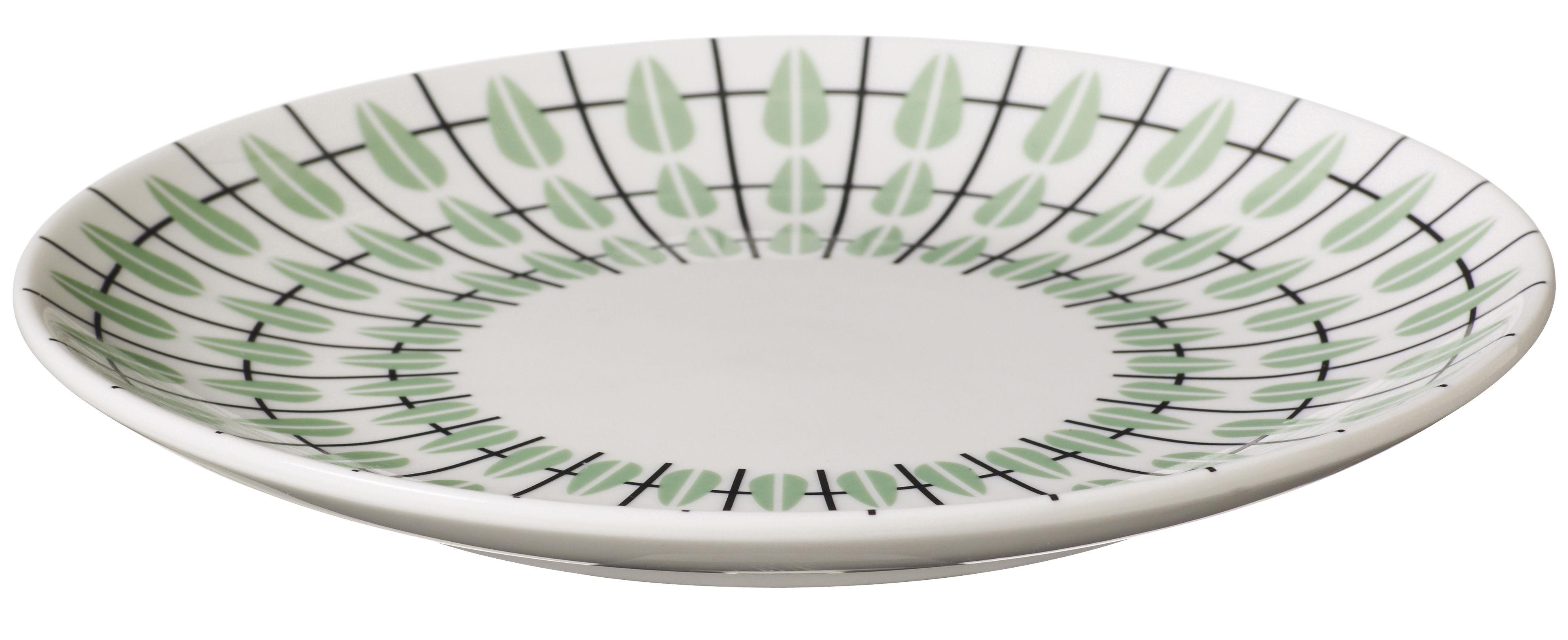 Arts de la table - Assiettes - Assiette à dessert Olivia / Ø 20 cm - Super Living - Blanc / Décor vert menthe - Porcelaine émaillée