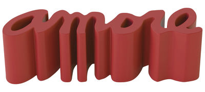 Furniture - Benches - Amore Bench - L 145 cm - Outdoor - Plastic by Slide - Flame red - recyclable polyethylene