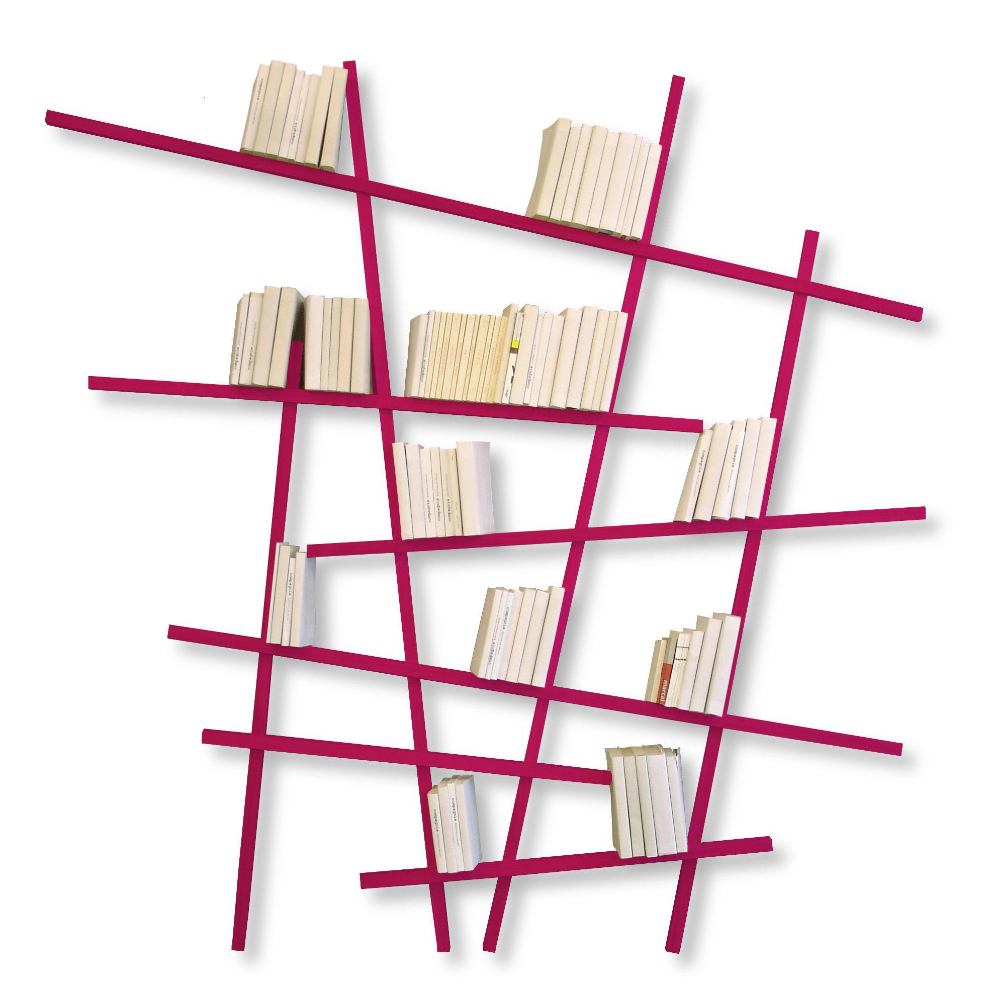 Möbel - Regale und Bücherregale - Mikado Large Bücherregal farbig - großes Modell - Compagnie - Pink - lackierte Buche