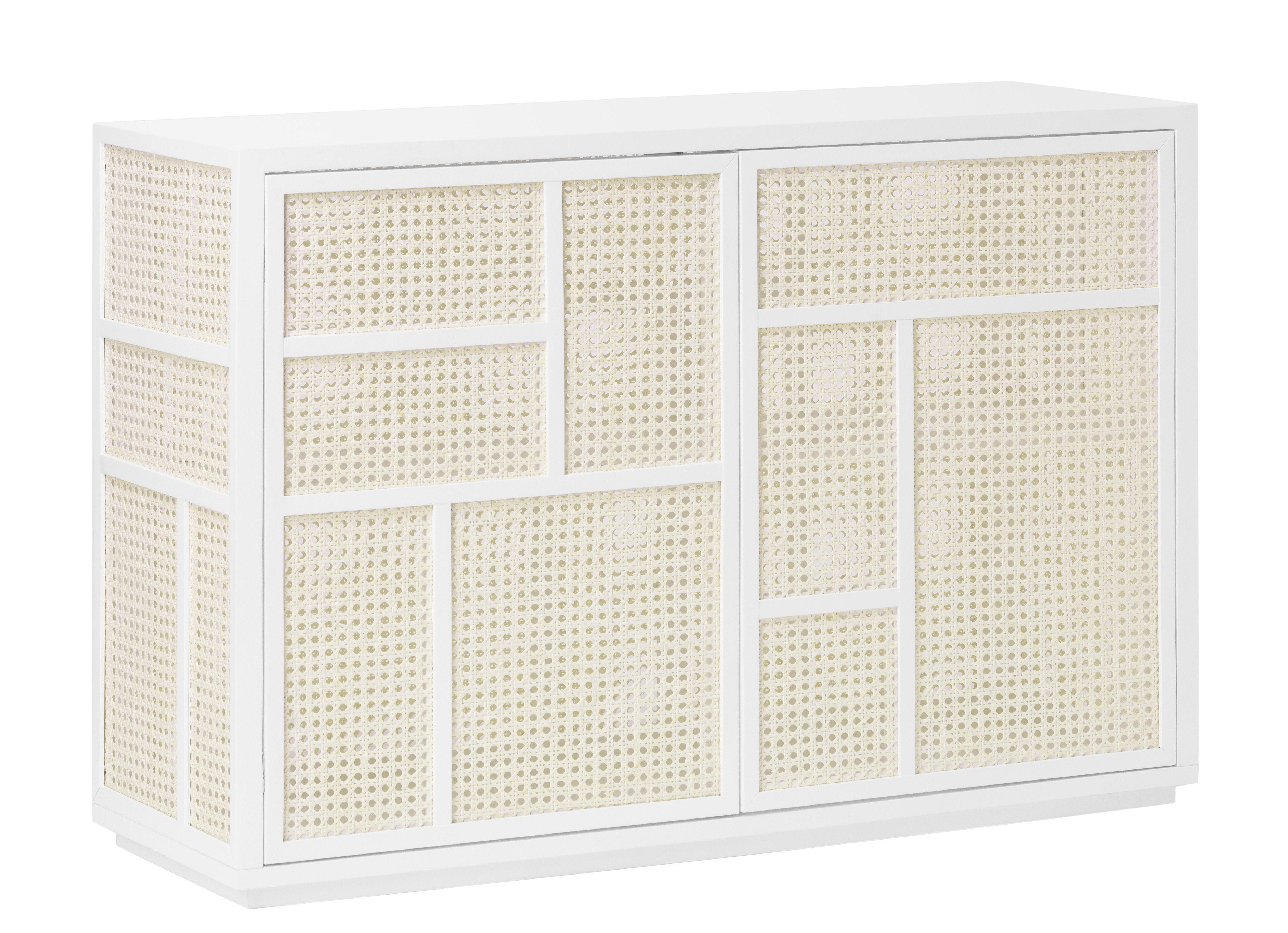 Arredamento - Contenitori, Credenze... - Buffet basso Air /  Impagliatura bambù - L 120 x H 81 cm - Design House Stockholm - Bianco & bambù naturale - Betulla, MDF, Midollino