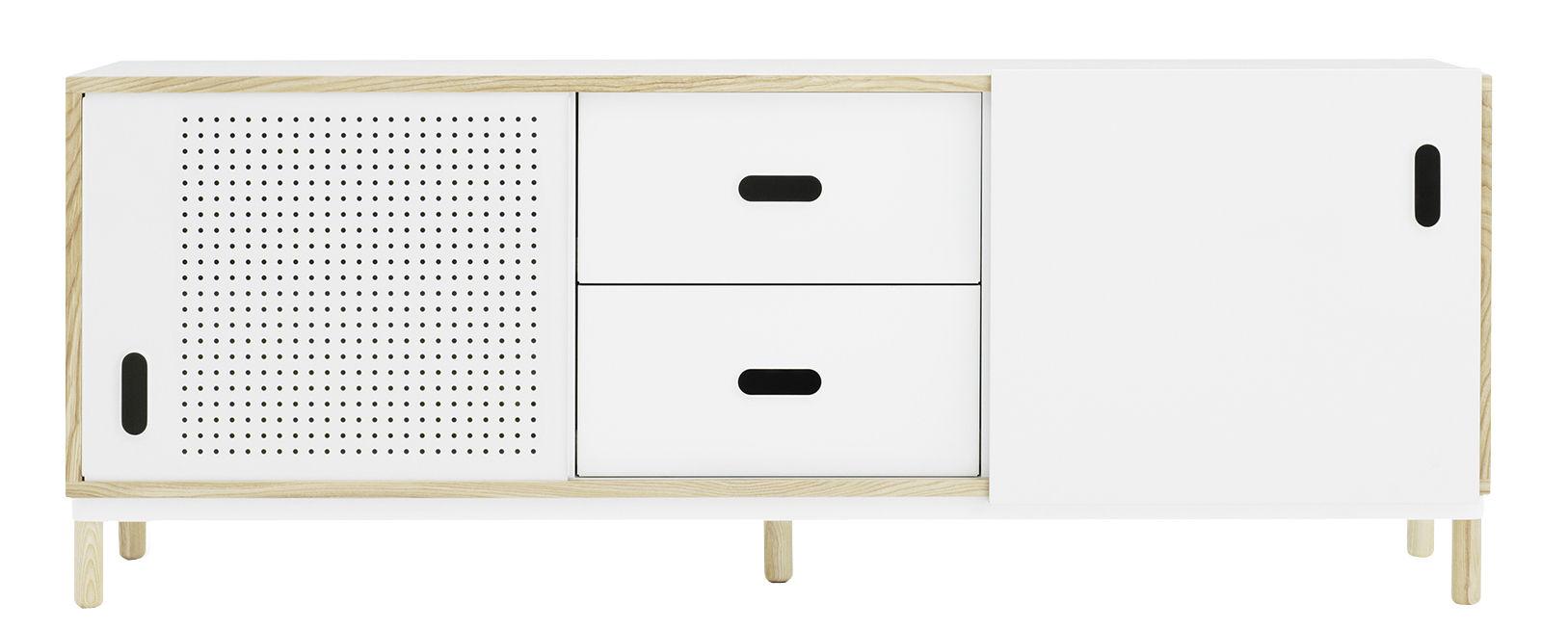 Arredamento - Contenitori, Credenze... - Buffet Kabino - / L 162 cm - cassetti di Normann Copenhagen - Bianco & frassino - Alluminio laccato, Frassino naturale, MDF