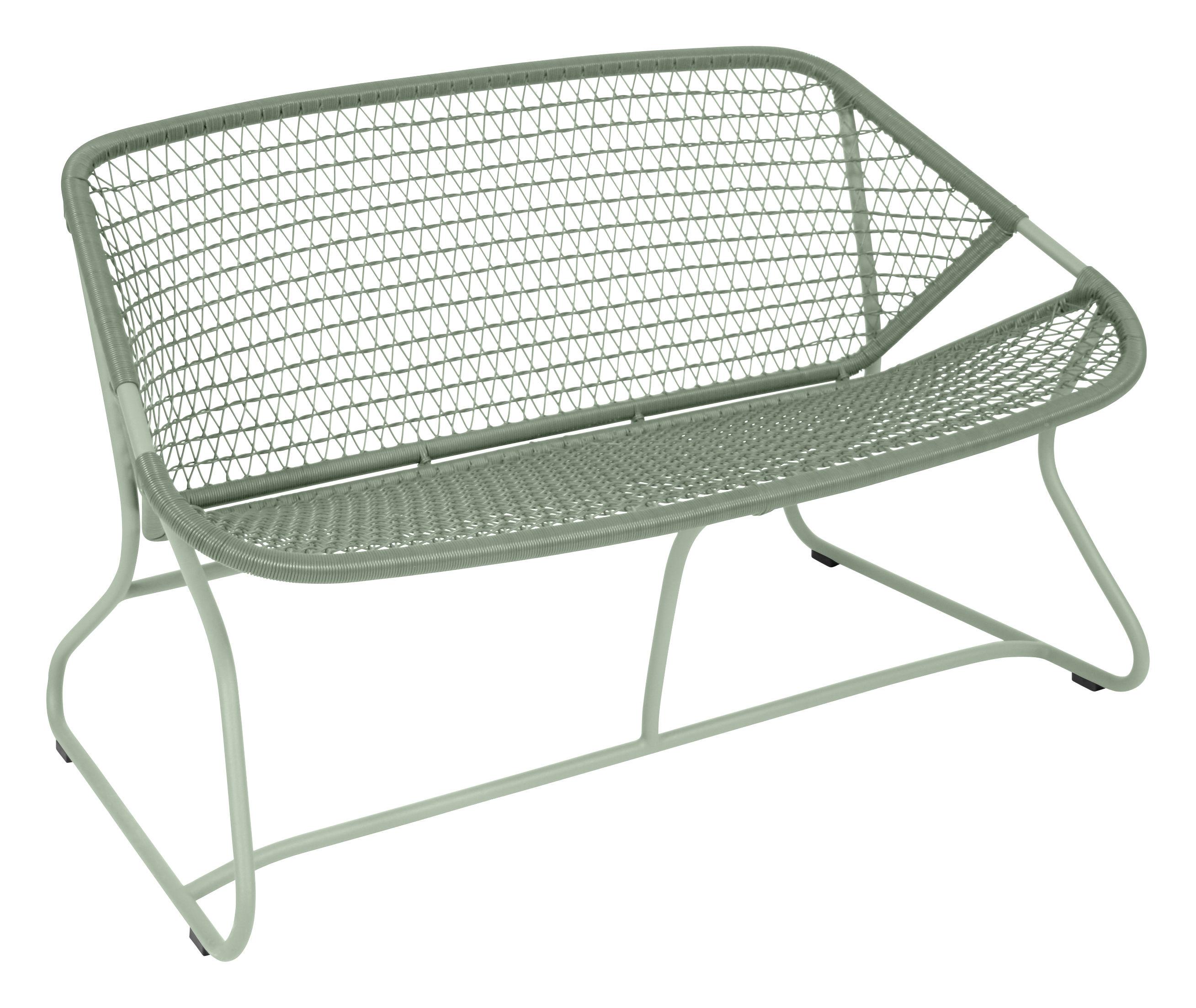 Arredamento - Panchine - Divano 2 posti Sixties - / L 118 cm - Plastica intrecciata di Fermob - Cactus - Alluminio, Résine polymère
