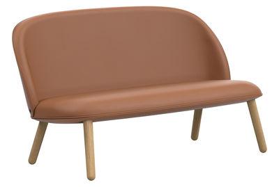 Mobilier - Canapés - Canapé droit Ace / 2 places - L 145 cm - Cuir & bois - Normann Copenhagen - Cuir marron Brandy - Chêne laqué, Cuir