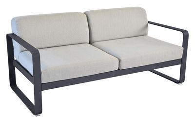 Mobilier - Canapés - Canapé droit Bellevie 2 places / L 160 cm - Tissu gris flanelle - Fermob - Carbone / Tissu gris flanelle - Aluminium laqué, Mousse, Tissu acrylique