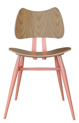 Furniture - Chairs - Butterfly Chair - / Wood - 1958 reissue by Ercol - Pink & Wood - Contreplaqué de orme, Natural beechwood