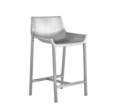 Mobilier - Tabourets de bar - Chaise de bar Sezz / H 61 cm - Aluminium - Emeco - Aluminium brossé - Aluminium finition brossé