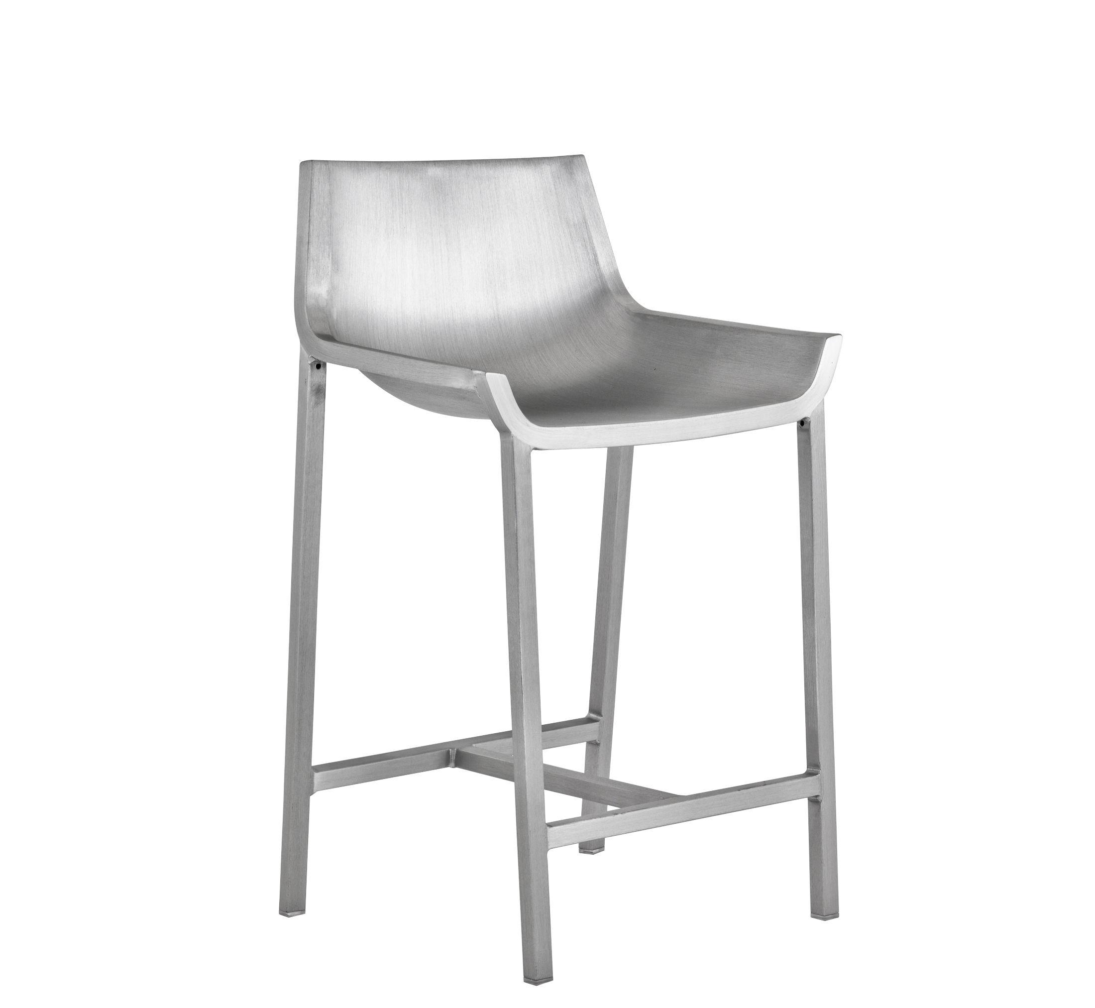 Mobilier - Tabourets de bar - Chaise de bar Sezz / H 61 cm - Aluminium - Emeco - Aluminium brossé - Aluminium recyclé finition brossé