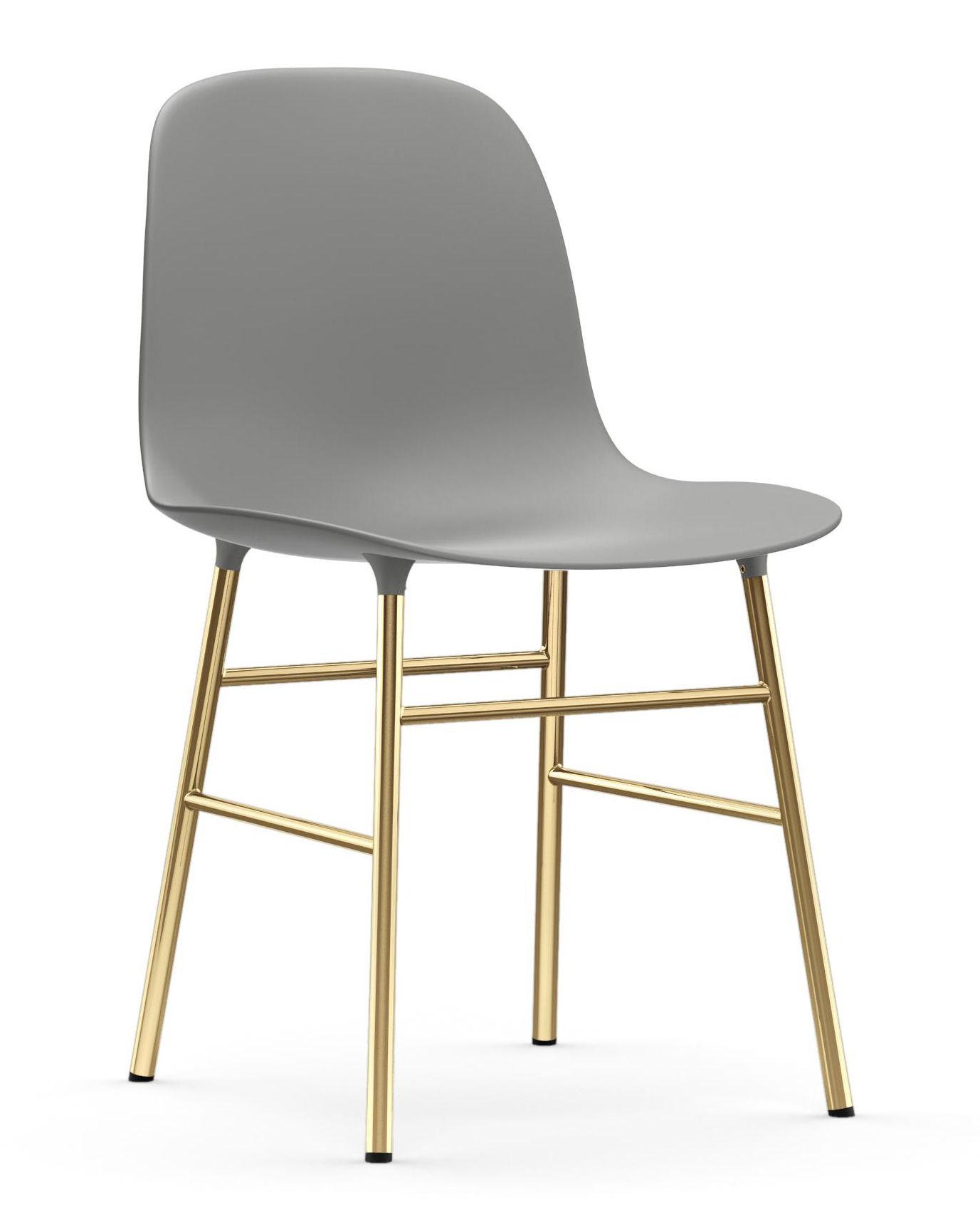 Mobilier - Chaises, fauteuils de salle à manger - Chaise Form / Pied laiton - Normann Copenhagen - Gris / Laiton - Acier plaqué laiton, Polypropylène