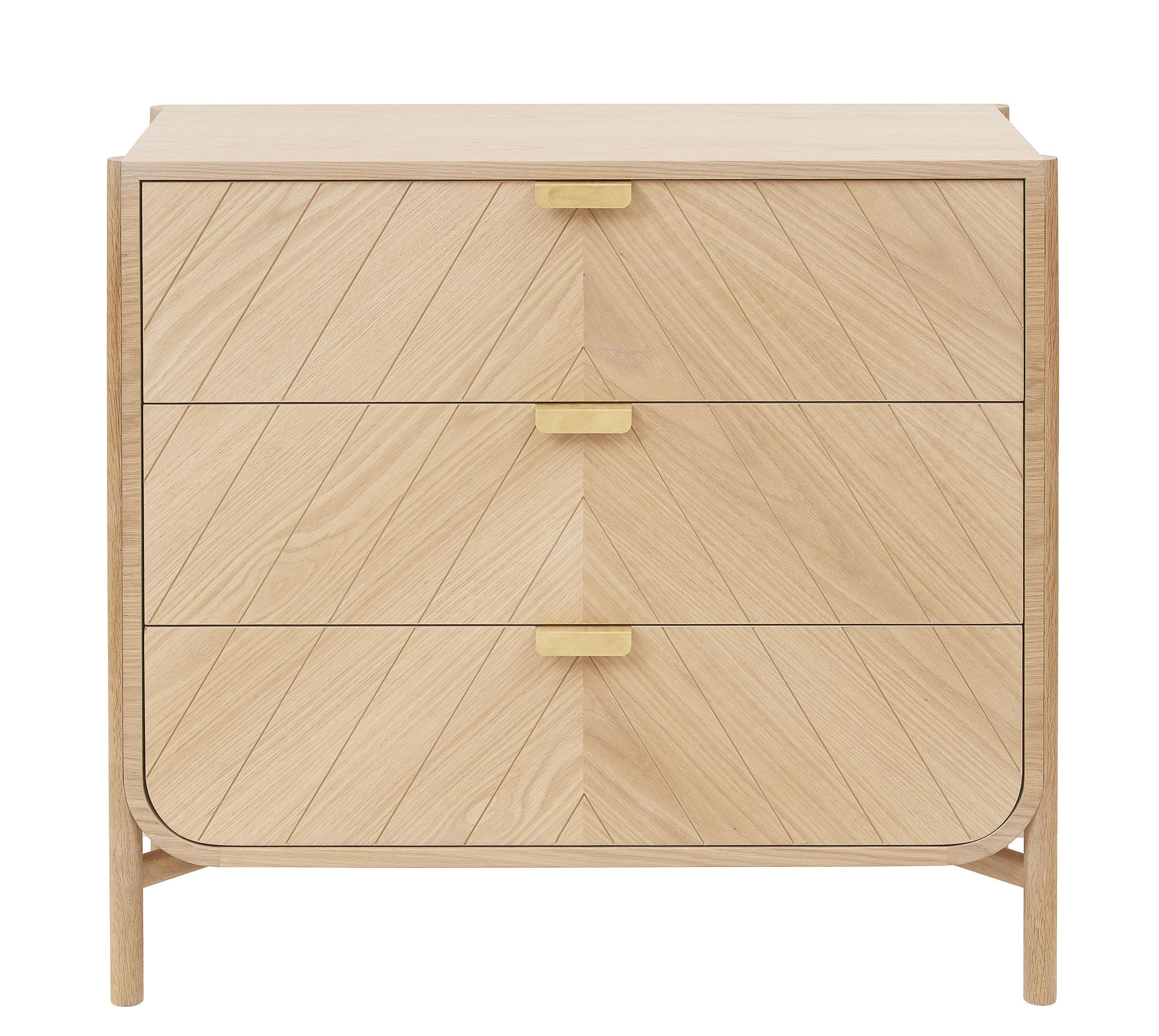 Furniture - Dressers & Storage Units - Marius Chest of drawers - L 100 x H 90 cm by Hartô - Natural oak - MDF veneer oak, Metal, Solid oak