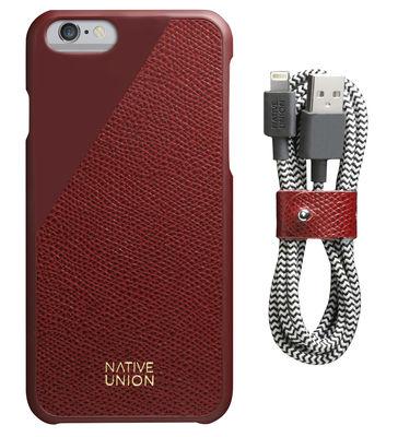 Accessoires - Objets connectés, accessoires high tech - Coque Iphone 6/6s Clic Leather / Cuir + câble de charge Lightning - Native Union - Rouge / Câble noir & blanc - Cuir pleine fleur, Plastique, Tissu