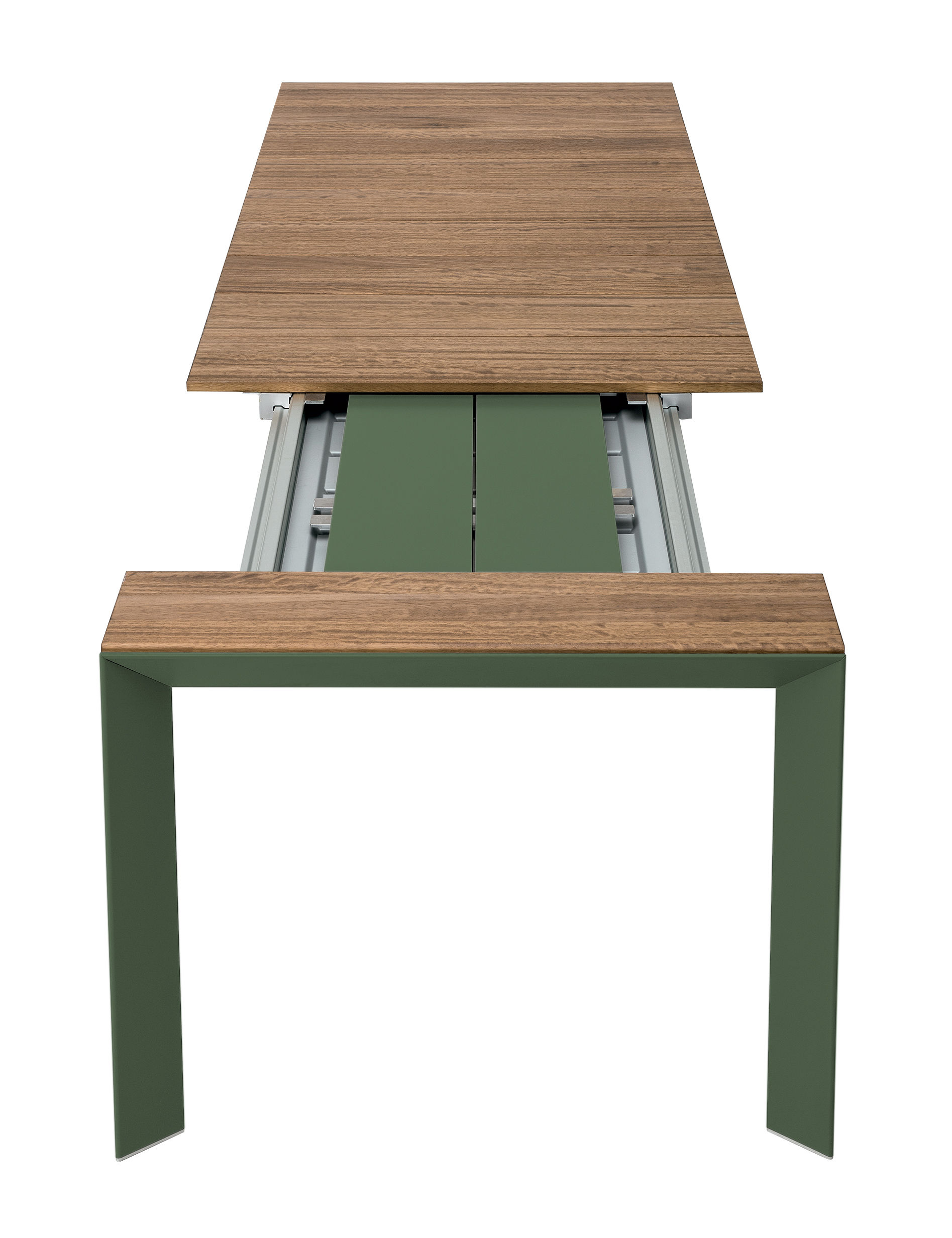 Outdoor - Garden Tables - Nori Extending table - / Teak - L 199 to 279 cm by Kristalia - Teak / Olive green - Anodized aluminium, Teak