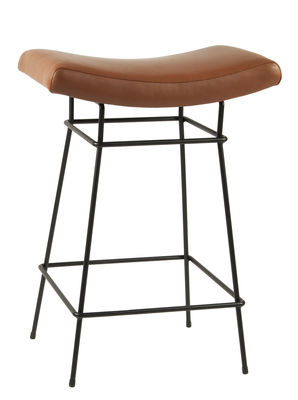 Furniture - Bar Stools - Bienal High stool - H 66 cm - Leather seat by Objekto - Brown leather / Black leg - Foam, Full grain leather, Painted recycled steel
