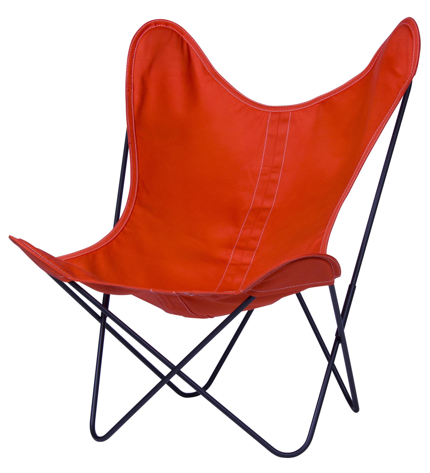 Möbel - Möbel für Kinder - AA Baby Butterfly Kindersessel Stoff - AA-New Design - Mandarine / Gestell schwarz - lackierter Stahl, Leinen