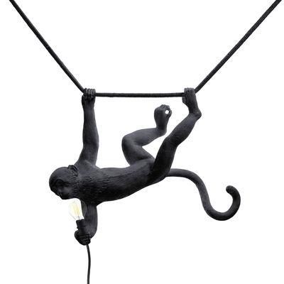 Lighting - Wall Lights - Monkey Swing Lamp - / Outdoor - L 60 cm by Seletti - Black - Resin