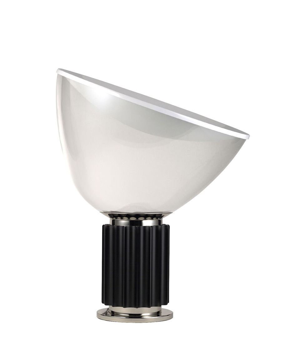Illuminazione - Lampade da tavolo - Lampada da tavolo Taccia LED Small - / Diffusore vetro - H 48 cm di Flos - Nero / Trasparente - Alluminio, vetro soffiato
