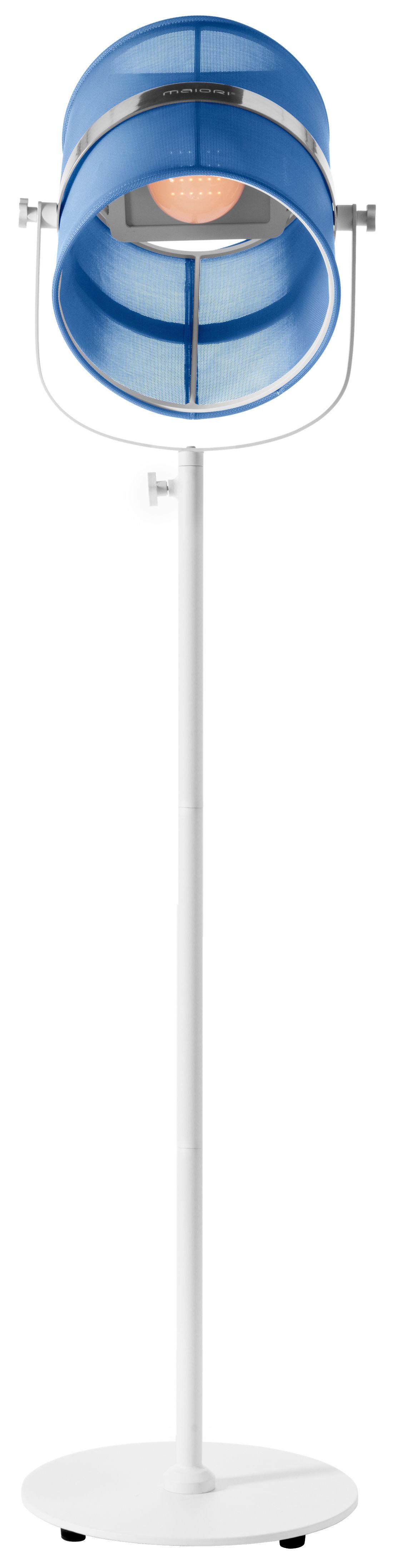 Luminaire - Lampadaires - Lampadaire solaire La Lampe Paris LED / Sans fil - Dock USB - Maiori - Bleu royal / Pied blanc - Aluminium peint, Tissu