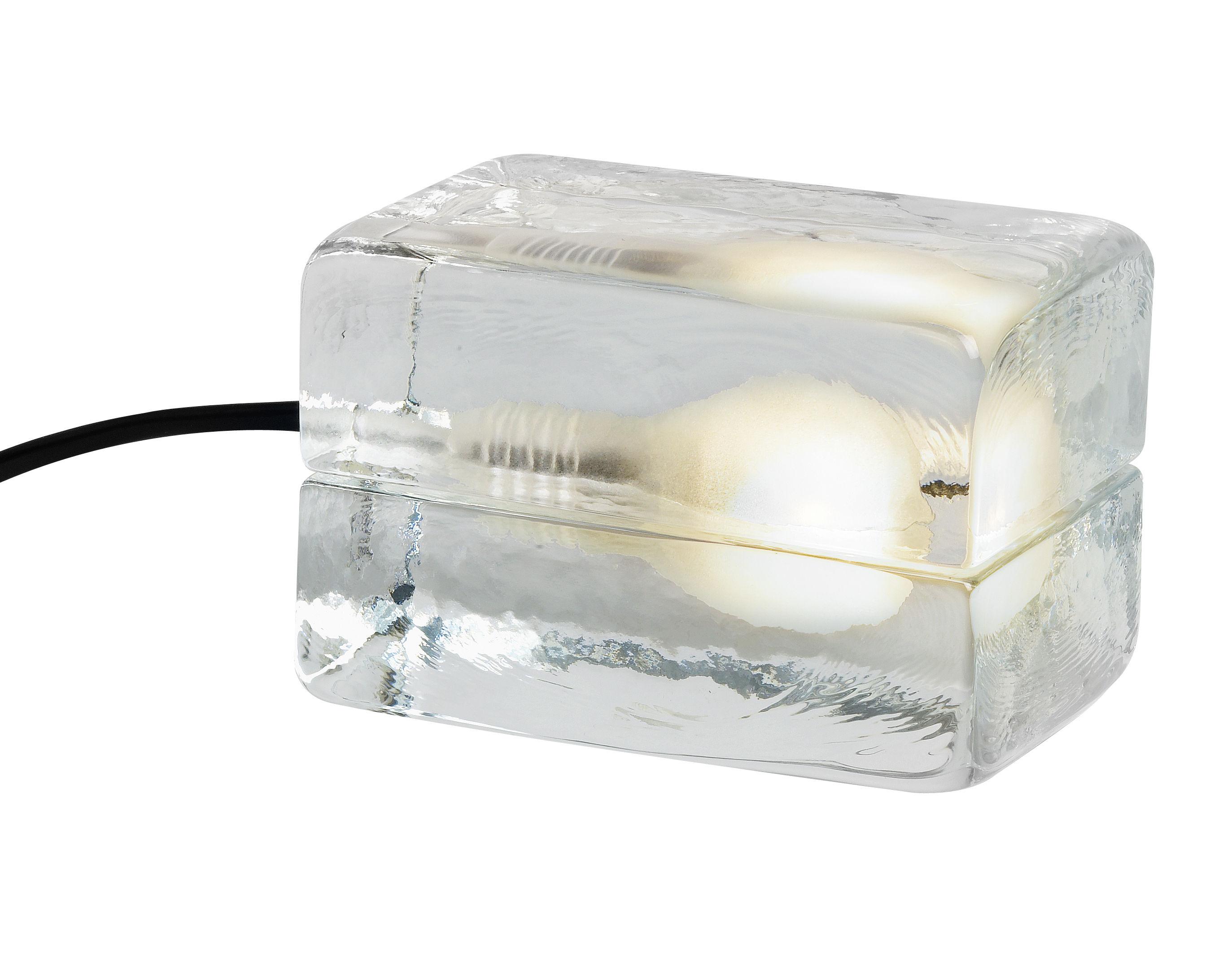 Luminaire - Lampes de table - Lampe de table Block Lamp Mini L 12 cm - Design House Stockholm - Transparent / Cordon plastique noir - Verre