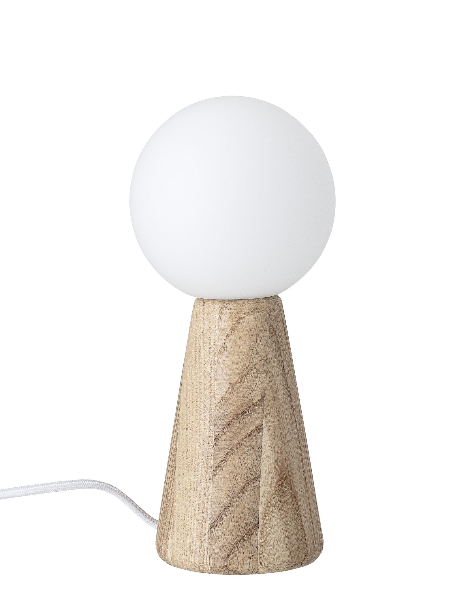 Luminaire - Lampes de table - Lampe de table / Bois - Bloomingville - Frêne naturel - Frêne, Verre opalin