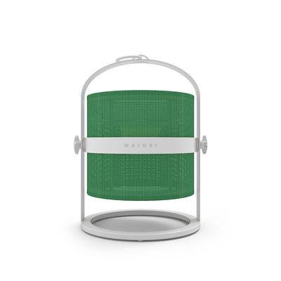 Lampe solaire La Lampe Petite LED / Hybride & connectée - Structure blanche - Maiori blanc/vert en métal/tissu