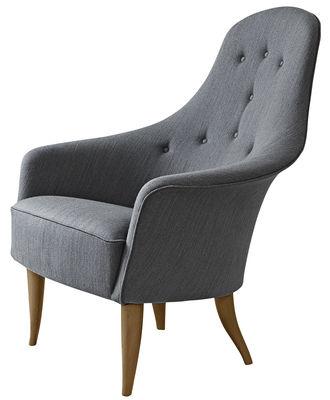 Furniture - Armchairs - Adam Padded armchair - / Reissue 1956 by Gubi - Grey - Legs : Oak - Kvadrat fabric, Solid oak