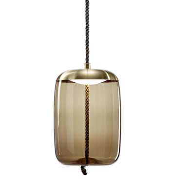 Lighting - Pendant Lighting - Knot cilindro Pendant - / Glass & rope - Ø 30 x H 47 cm by Brokis - Brown / Brass cap - Blown glass, Brass, Natural rope