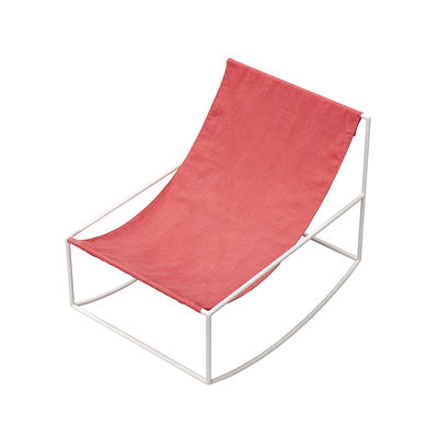 Furniture - Armchairs - Rocking chair - / Linen by valerie objects - Red linen / White structure - Linen, Steel