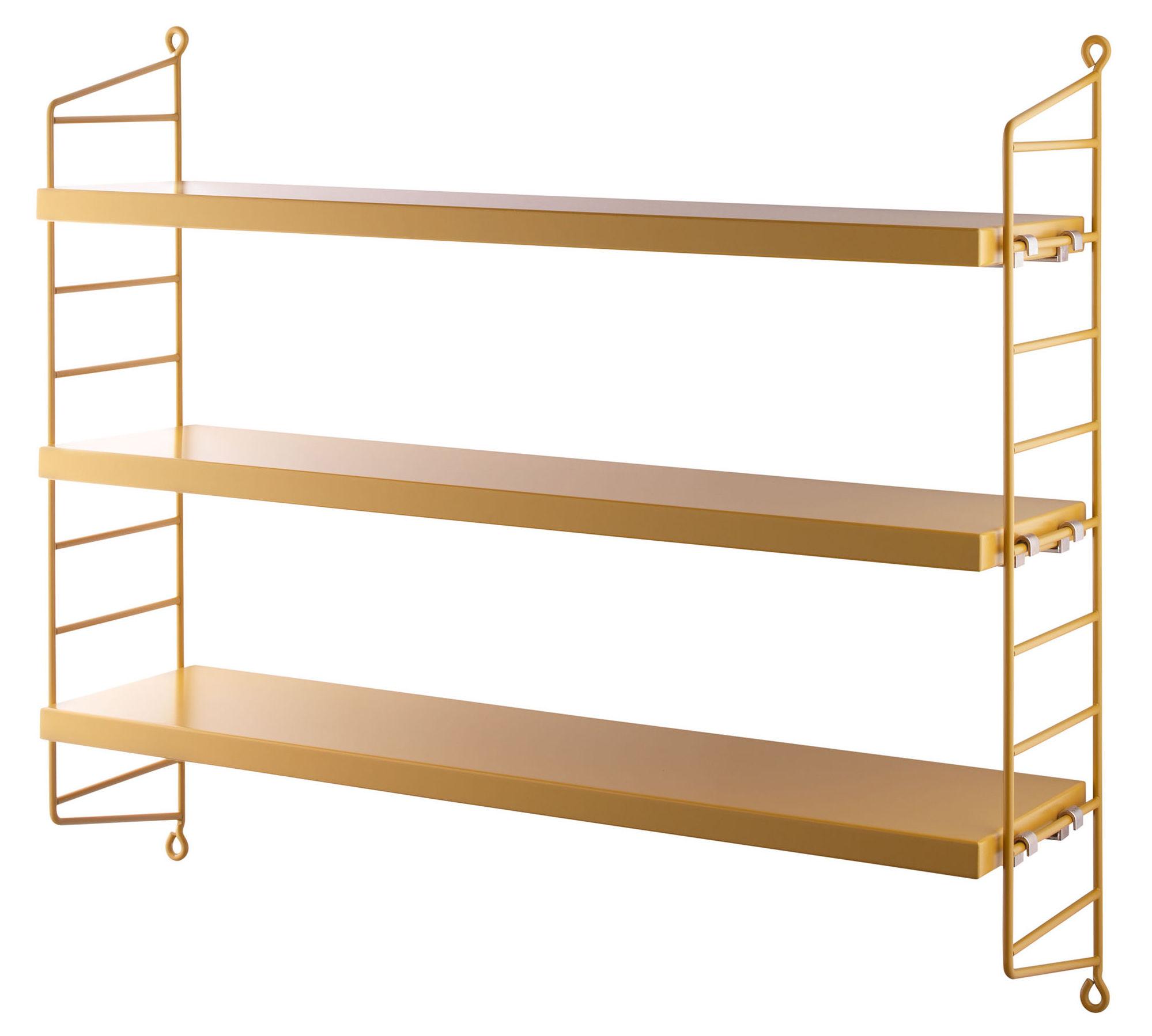 Arredamento - Scaffali e librerie - Scaffale String Pocket - / L 60 x H 50 cm di String Furniture - Senape / Montanti senape - Acciaio laccato, MDF tinto