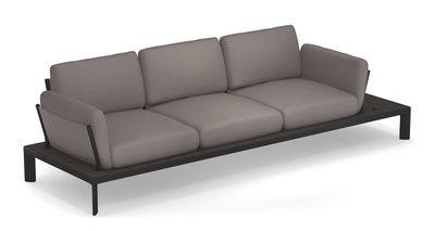Möbel - Sofas - Tami Sofa / 3 Plätze - L 277 cm - Emu - Gewebe grau / Gestell: schwarz und anthrazit - Aluminiumlegierung, Polyacryl-Gewebe, Schaumstoff, WPC Bambus
