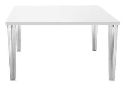 Furniture - Dining Tables - Top Top Square table - 130 cm - lacquered table top by Kartell - White - Lacquered polyester, Polycarbonate