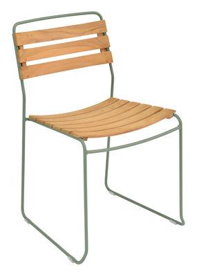 Möbel - Stühle  - Surprising Stapelbarer Stuhl / Holz & Metall - Fermob - Kaktus / Holz - bemalter Stahl, Geöltes Teakholz