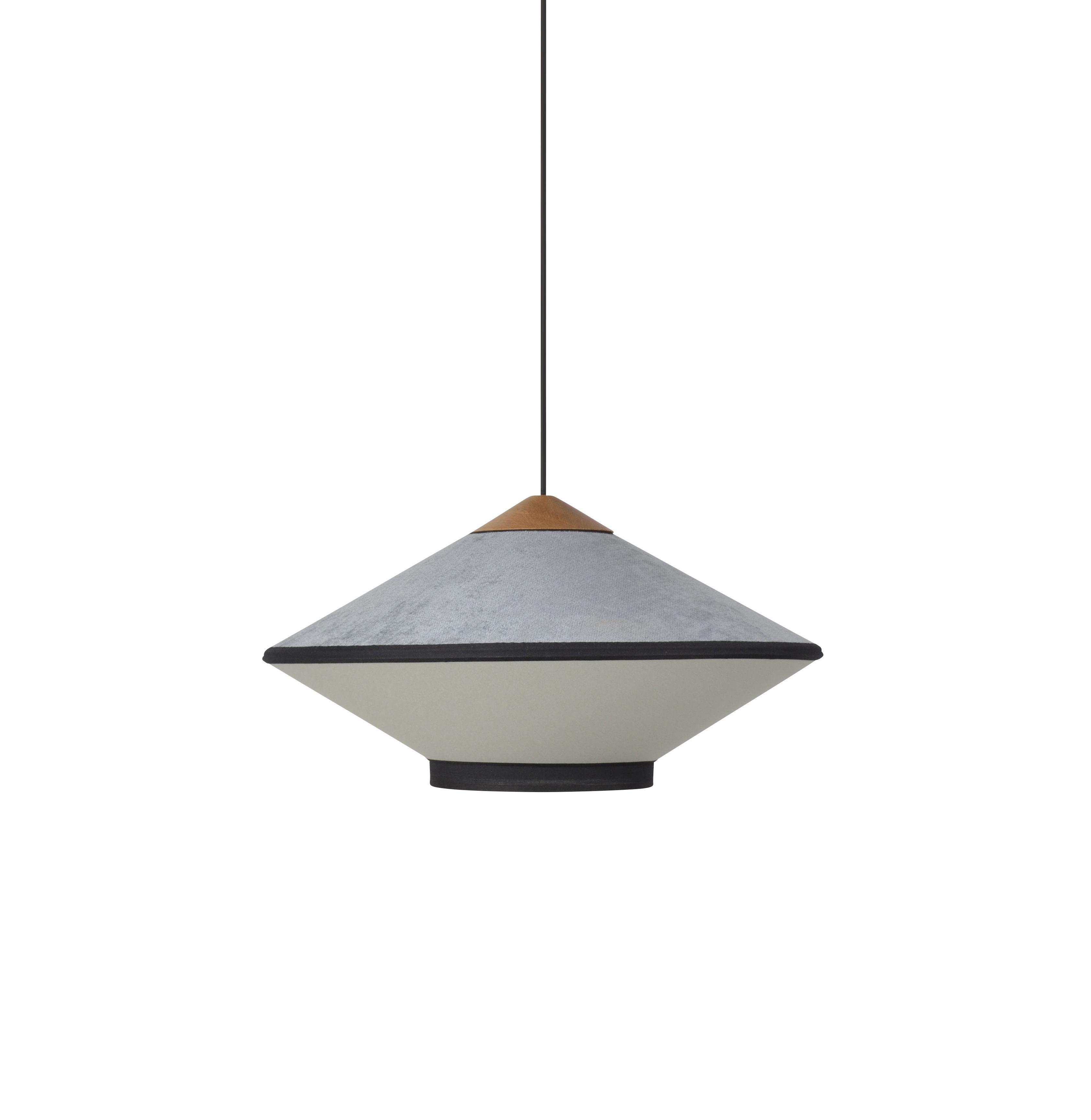 Luminaire - Suspensions - Suspension Cymbal Small / Ø 50 - Velours - Forestier - Bleu clair - Chêne, Tissu, Velours