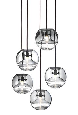 Luminaire - Suspensions - Suspension Flask Ball / Ø 18 cm - Tom Dixon - Fumé / Transparent - Verre pressé