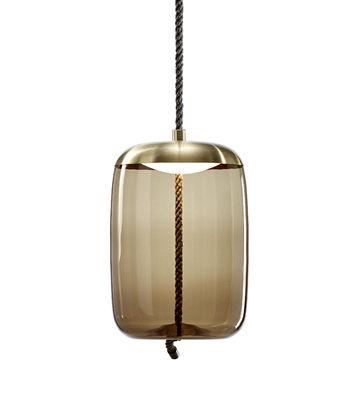 Luminaire - Suspensions - Suspension Knot cilindro / Verre & corde - Ø 30 x H 47 cm - Brokis - Marron / Calotte laiton - Corde naturelle, Laiton, Verre soufflé