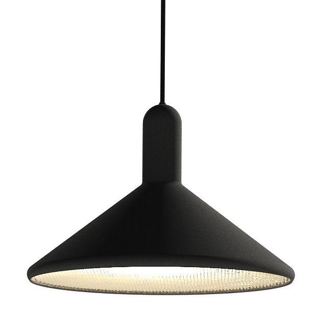 Luminaire - Suspensions - Suspension Torch Light Cône / Large - Ø 30 cm - Established & Sons - Noir / Câble noir - PVC