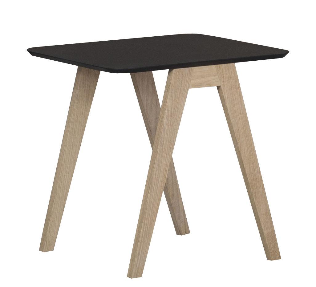 Mobilier - Tables basses - Table basse Monk / 41 x 41 cm - Prostoria Ltd - Piètement noyer / Noir - Chêne, Contreplaqué, Linoléum