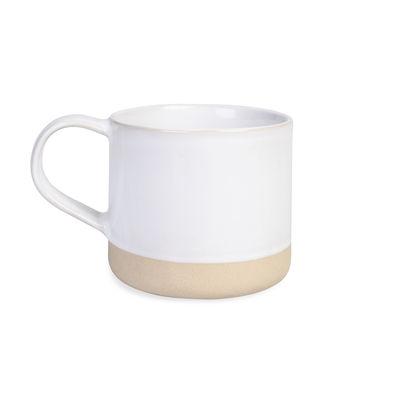 Arts de la table - Tasses et mugs - Tasse / Grès bicolore naturel - Au Printemps Paris - Blanc / Bande naturelle - Grès