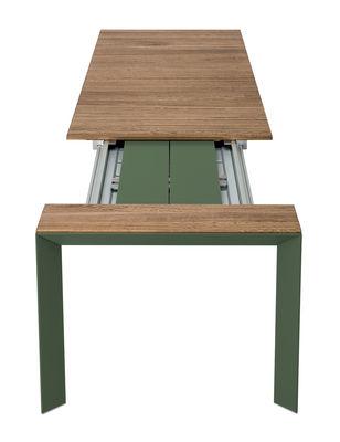Outdoor - Tavoli  - Tavolo con prolunga Nori - / Teck - L 199 a 279 cm di Kristalia - Teck / Verde oliva - Alluminio anodizzato, Teck
