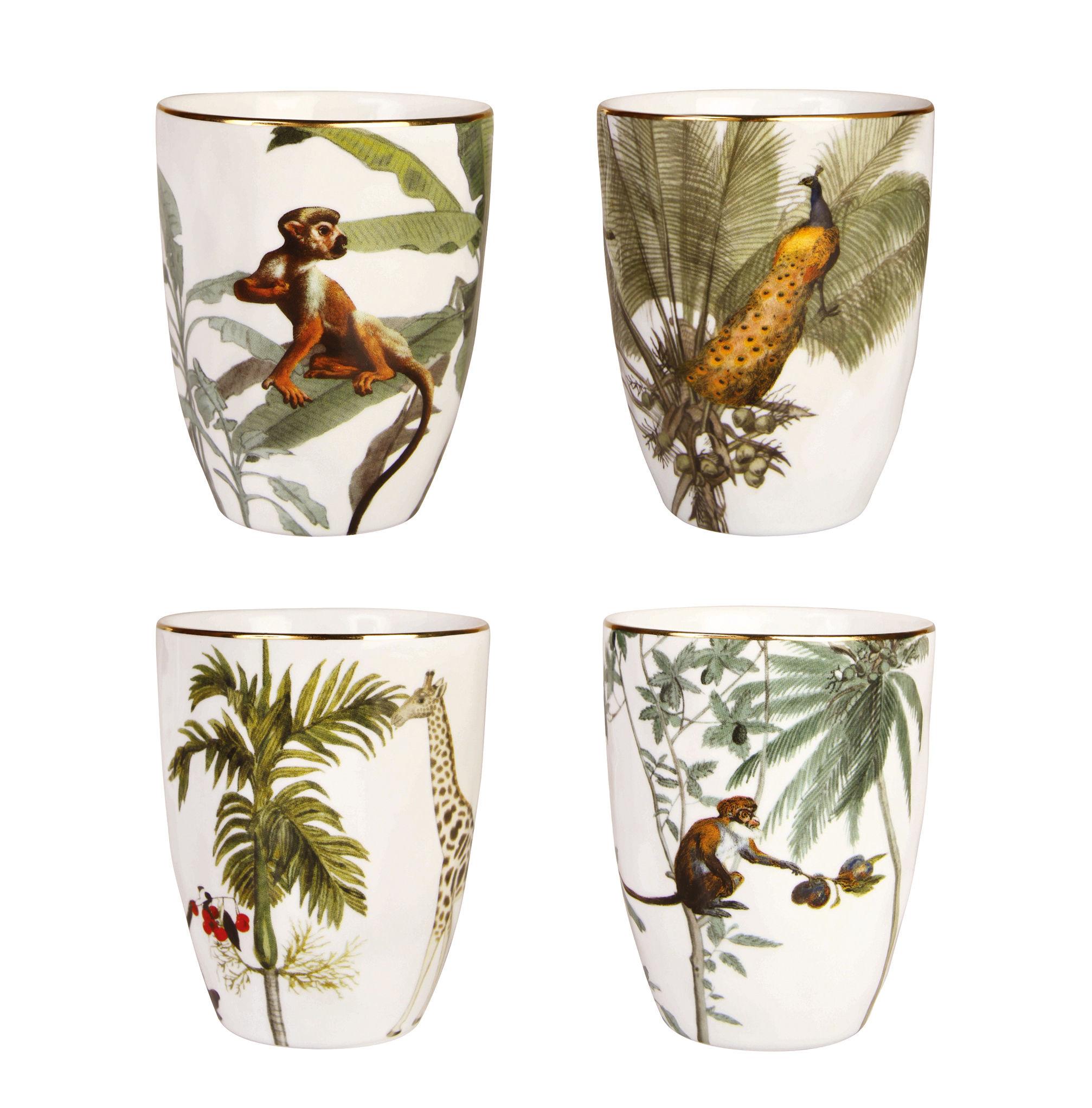 Tavola - Tazze e Boccali - Tazza Jungle - / Set di 4 - Porcellana di & klevering - Jungle / Multicolore - Porcelaine fine